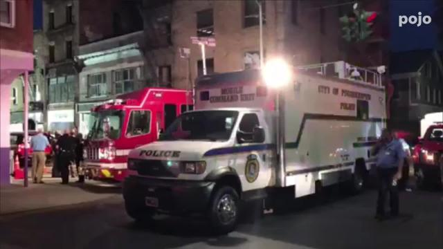 Raw footage of the scene on Academy Street on Monday.