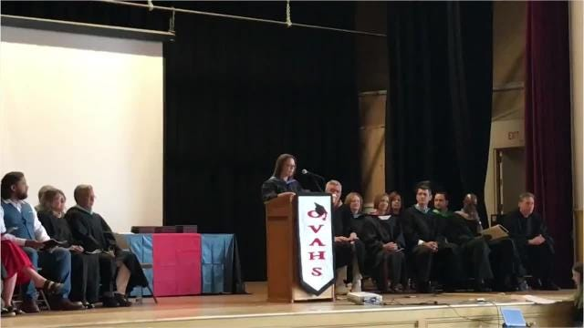 Principal Laura DiStefano and Valedictorian Danielle A. Piccone speak to the class of 2018 on June 22, 2018 at Wappingers Junior High School.