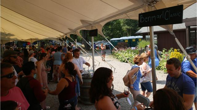 Around 1,000 people attended the 12th annual Hudson Valley July Sangria Festival at Benmarl Winery on Saturday, according to winemaker Michael Spaccarelli. The winery has been open since 1954. Video by Jack Howland/Poughkeepsie Journal