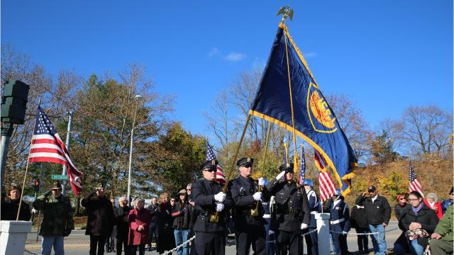 Hundreds of people gathered at the Dutchess County War Memorial in the City of Poughkeepsie on Sunday to mark Veterans Day. Many veterans were in attendance, sporting jackets or hats bearing the name of their branch of service. Video by Jack Howland/Poughkeepsie Journal
