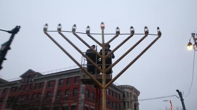 The first day of Hanukkah was Sunday, and Chabad Mid-Hudson Valley lit the first candle of a 25-foot-tall menorah on Main Street in the City of Poughkeepsie, which is said to be the biggest menorah in the mid-Hudson Valley. The group plans to light a new candle each day until Dec. 10, the final day of Hanukkah. Video by Jack Howland/Poughkeepsie Journal