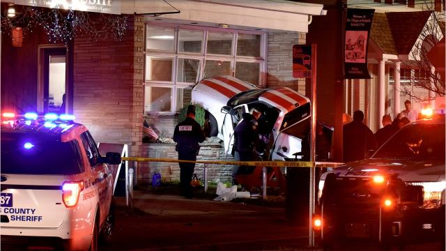 A white pickup truck crashed into a Main Street restaurant near Route 9 Thursday evening.