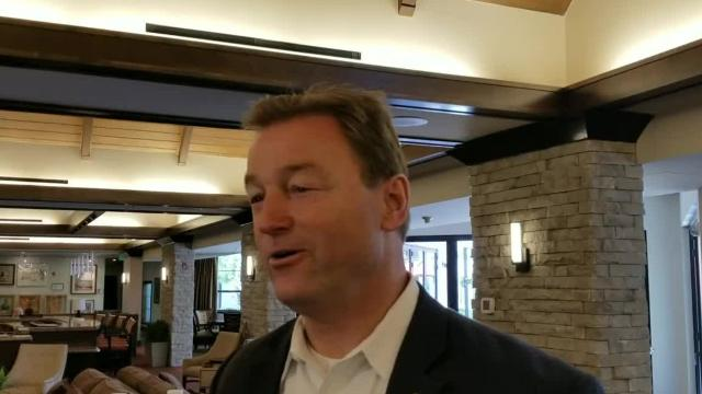Senator Dean Heller speaks in August 2017 on the announcement of Danny Tarkanian running for Senate, after presenting World War II veteran, Bob Schratz, with a proclamation for his service.