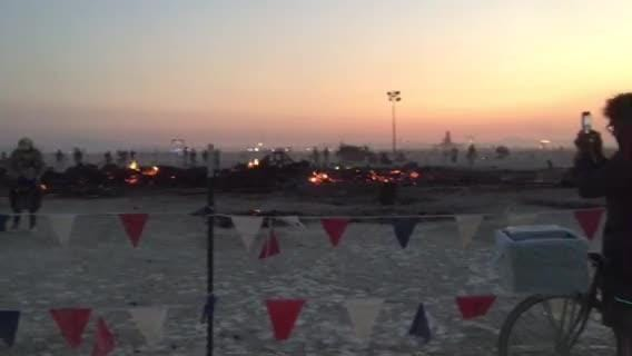 Watch: The site of the burn at Burning Man the next morning