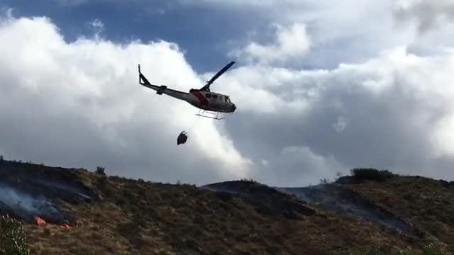 Raw video: Copters fight Woodchuck Fire west of Reno