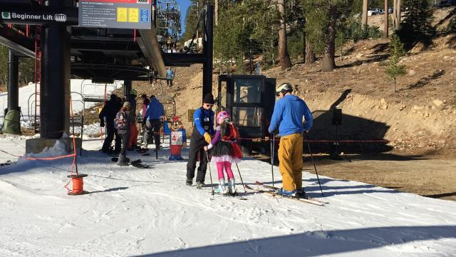 Scores of skiers and snowboarders made the trek to Mt. Rose Ski Tahoe on Friday to enjoy a few opening day beginner runs.