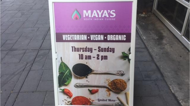 Maya's South Indian Cuisine recently began serving lunch four days a week from a storefront space in West Street Market.