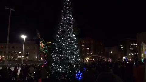 Watch this video as a giant Christmas tree lights up downtown Reno on Dec. 6, 2017.