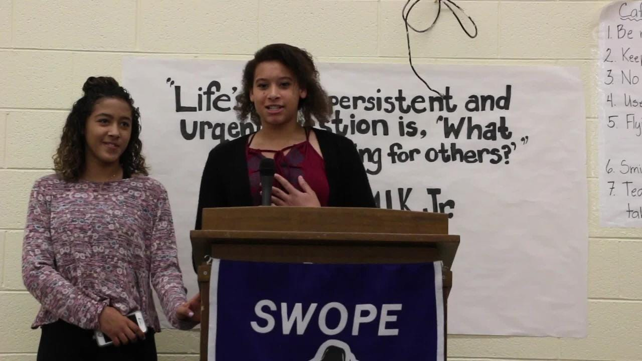 Bullied Yerington teens Jayla Tolliver and Taylissa Marriott thank the students of Swope Middle School for their letters of support.