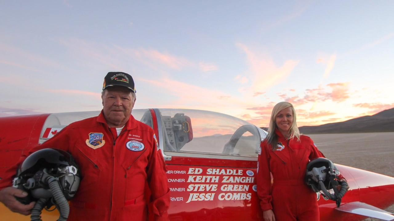 Drivers Ed Shadle and Jessi Combs are aiming to set world land speed records in a jet-powered car they'll drive across the Nevada desert.