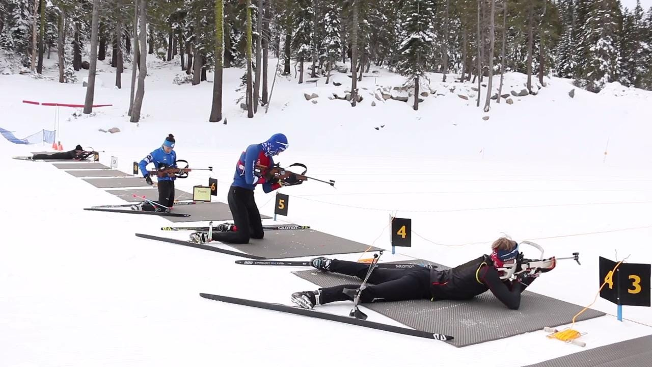 See young athletes training for the Biathlon at the Auburn Ski Club near Truckee, Calif.