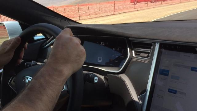 RGJ reporter Ben Spillman gets a feel of the unique acceleration of the electric Tesla Model S on Tuesday.