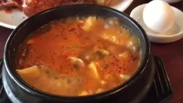 Pork soft tofu soup bubbles at Tofu House, a new Korean restaurant on East Moana Lane in Reno.