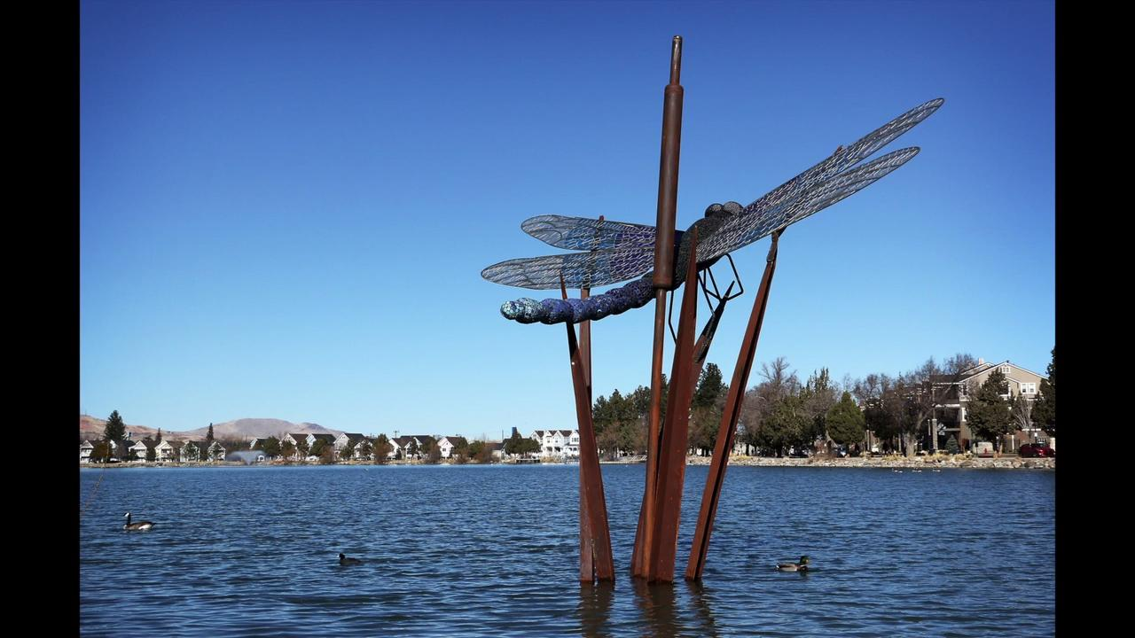 Burning Man artist Peter Hazel and the City of Reno dedicate Dragonfly sculpture at Virginia Lake.