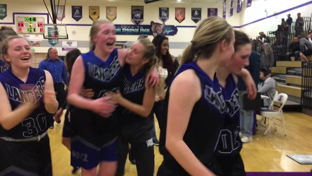 The McQueen girls celebrate their win over Bishop Manogue in the Northern 4A semifinals Thursday night.