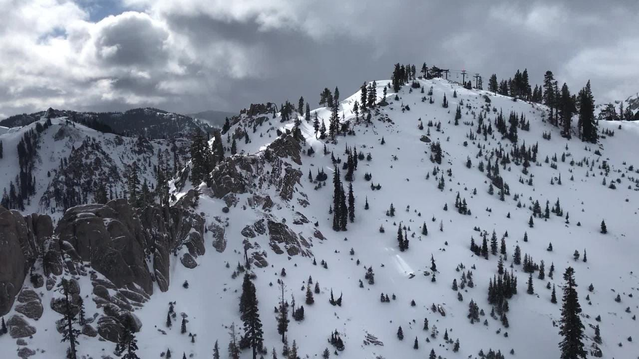 Aerial footage of Squaw Valley taken from the  tram as it passes over the Silverado Zone after 6 inches of snow fell overnight on Feb. 19, 2017.