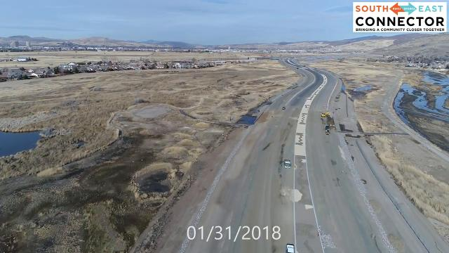 Watch the drone fly over the Southeast Connector for a construction update.