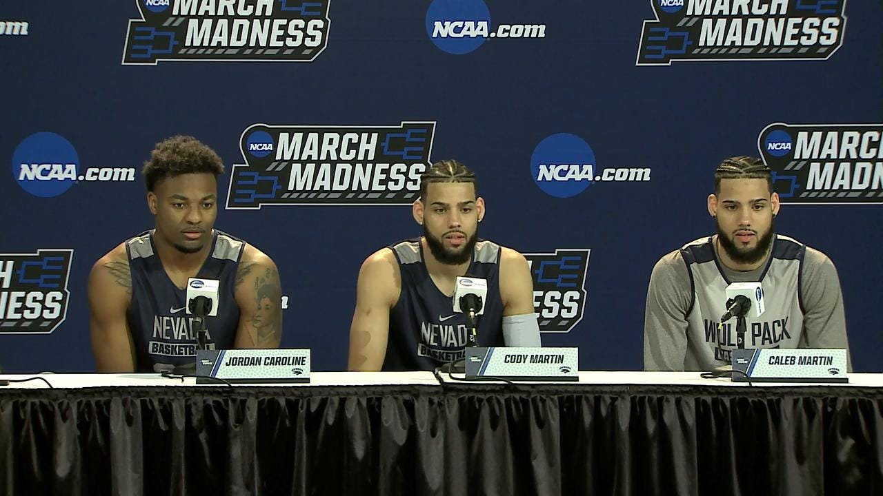 Wolf Pack players Jordan Caroline, Caleb Martin and Cody Martin as well as coach Eric Musselman discuss their team's NCAA Tournament game against Texas on Friday afternoon.