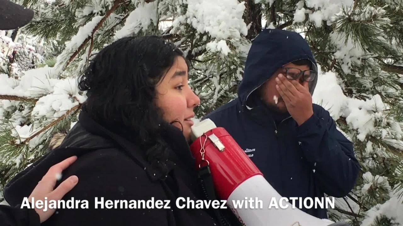 Alejandra Hernandez-Chavez with ACTIONN speaks on behalf of David Chavez-Macias who is being deported to Mexico after living in the U.S. for 30 years.