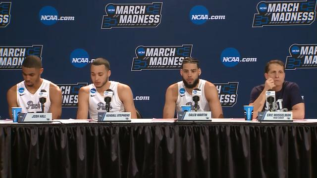 The Nevada basketball team talks about its 87-83 overtime victory over Texas in the first round of the NCAA Tournament on Friday in Nashville, Tenn.