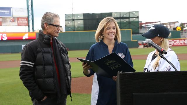 Brett Butler's jersey is retired at Greater Nevada Field on April 11, 2017.