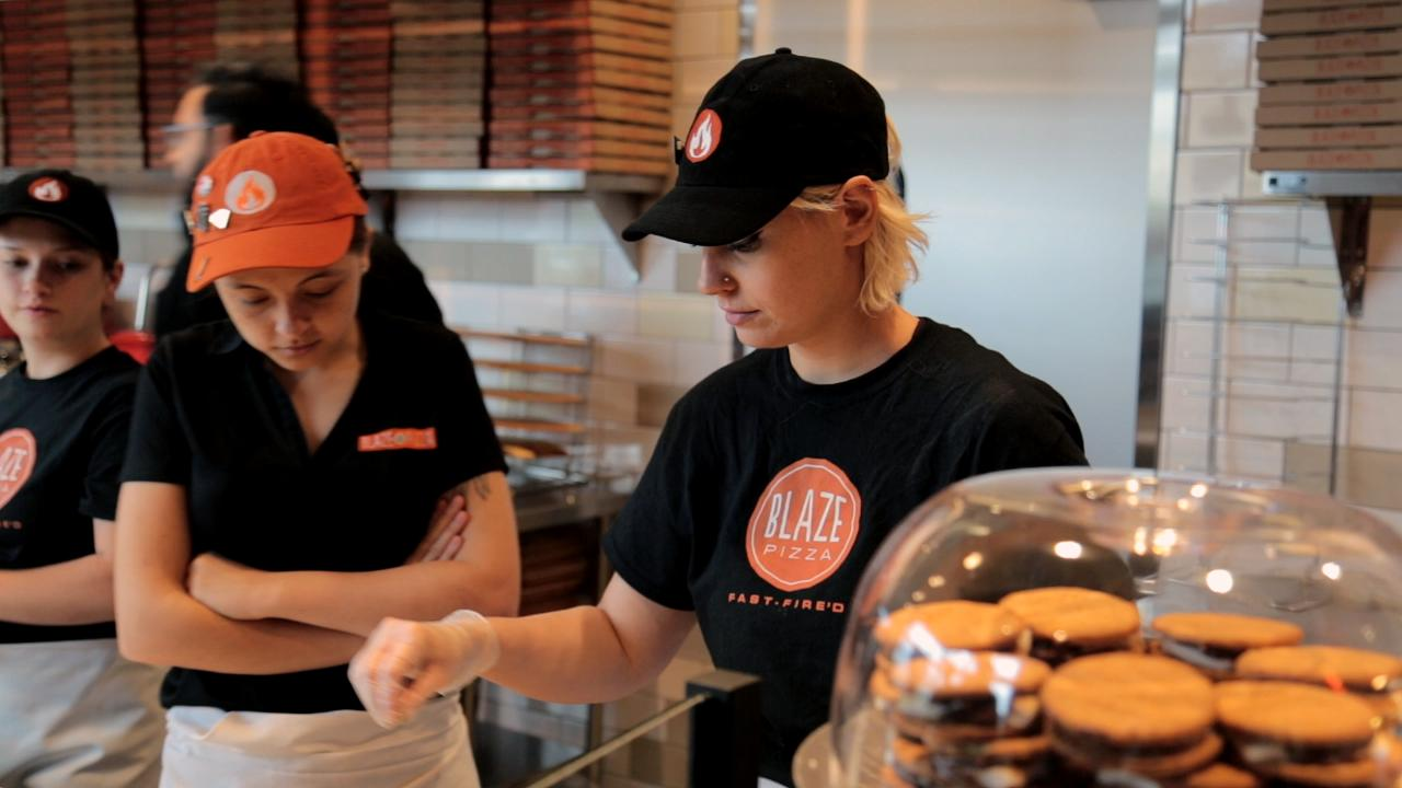 """Did you know that you could add as many toppings as you want on a Build Your Own pie at Blaze Pizza without any extra cost? We check out the opening of Blaze's new Reno store to see how the """"BYO"""" system works."""