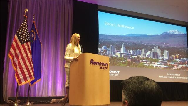 Philanthropist Stacie Mathewson speaks at the announcement of her $6 million donation to start the Stacie Mathewson Behavioral Health and Addiction Institute at Renown.