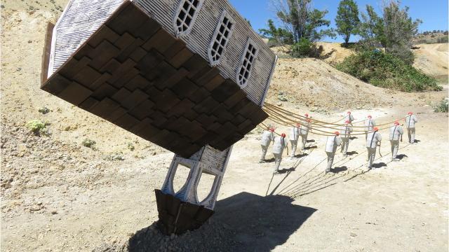An art installation in Virginia City is a bit topsy turvy.