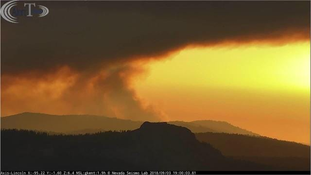 An Alert Tahoe fire camera positioned on top of Mt. Lincoln captured the sun setting over the North Fire burning near Emigrant Pass in the Tahoe National Forest Monday afternoon.