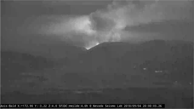 An AlertTahoe fire camera atop Bald Mountain in Nevada captured the Boot Fire burning into the night Tuesday.