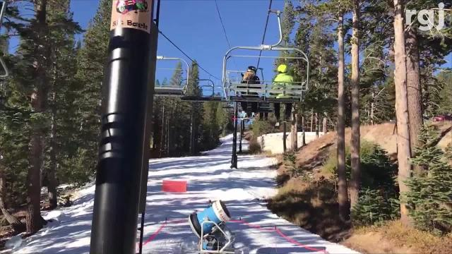 """It's """"one good first taste of snow for the year"""" as a few runs at Mt. Rose Ski Tahoe opened Oct. 19-20, 2018 for season-pass holders only. This is the earliest the Reno ski area has ever opened, according to the resort."""