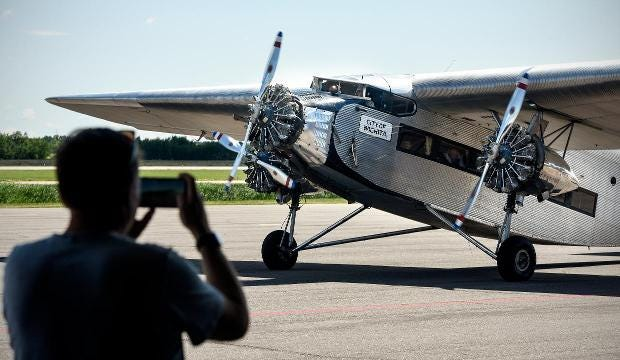 Vintage aircraft soars over St. Cloud