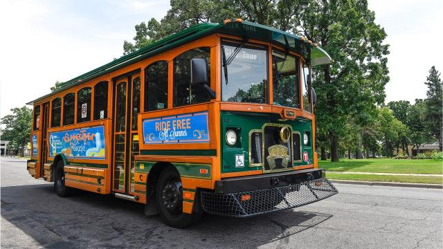 St. Cloud Mayor Dave Kleis gives a history tour Friday, July 21 on the city's trolley.