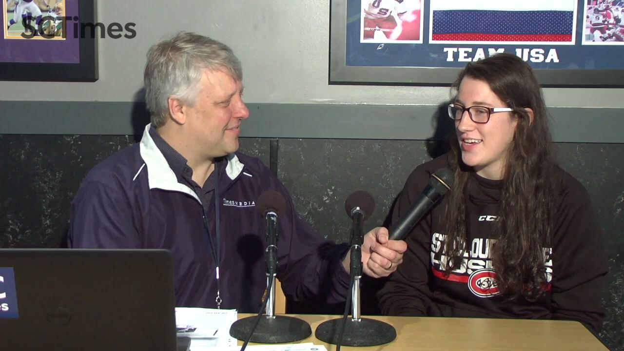Mick Hatten talks SCSU wrestling and women's hockey with athletes and coaches at SCSU Sports Chat at Buffalo Wild Wings in St. Cloud.