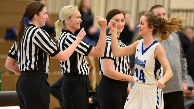 Amanda Tate, Sandy Engdahl and Haley Johnson are believed to be the first all-woman officiating crew to work a Minnesota State High School League-sanctioned varsity basketball game in St. Cloud.