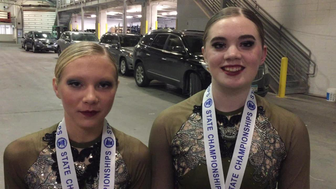 Sartell's Alayna Runge (left) and Reese Schwarzentraub talk about their team's third-place finish in the jazz division at the state meet in Minneapolis.