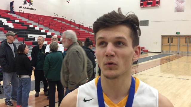 Sauk Rapids senior guard Braden Tretter talks about his team's 64-59 victory over Fergus Falls in the section championship game at Alexandria.