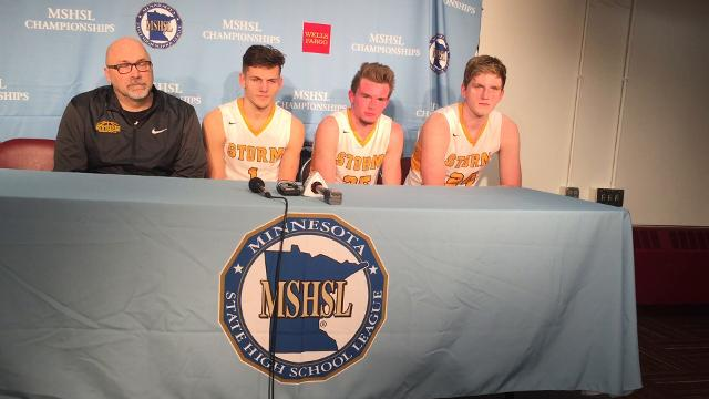 Sauk Rapids boys basketball team members speak at a press conference after the Storm lost 64-55 to Austin at Williams Arena.