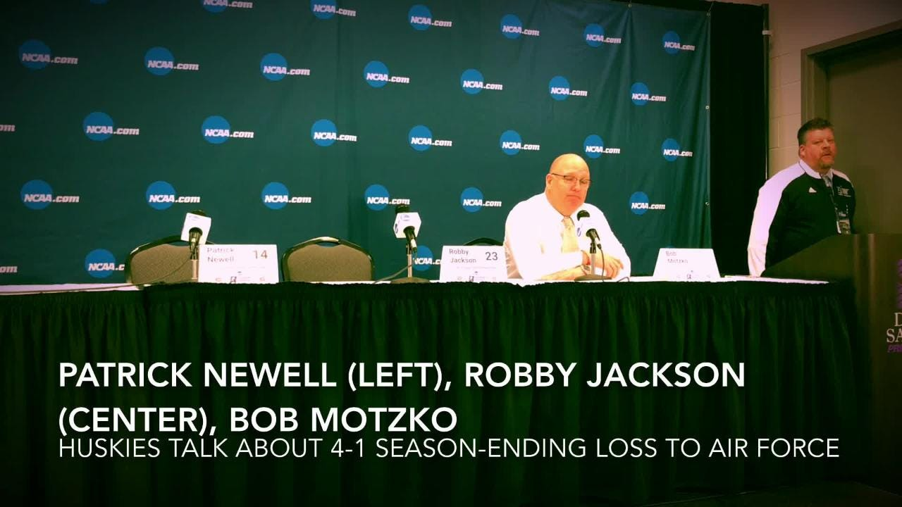 Patrick Newell, Robby Jackson and Bob Motzko talk about the frustration in losing as a No. 1 overall seed to No. 16 Air Force