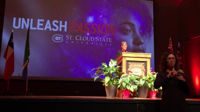 Wacker speaks at SCSU's fall convocation and kicks off the university's year-long sesquicentennial celebration Aug. 21, 2018.