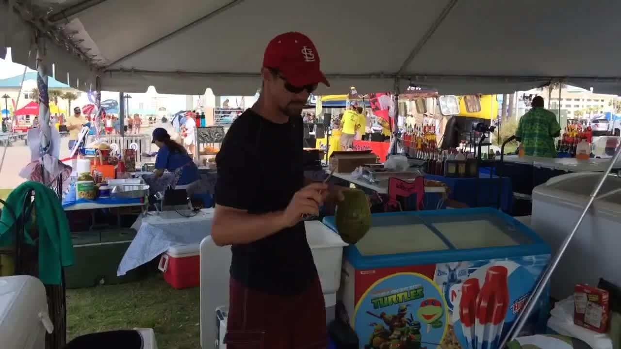 Alex Hill of Emerald Coast Italian Ice talks about their refreshing coconuts.