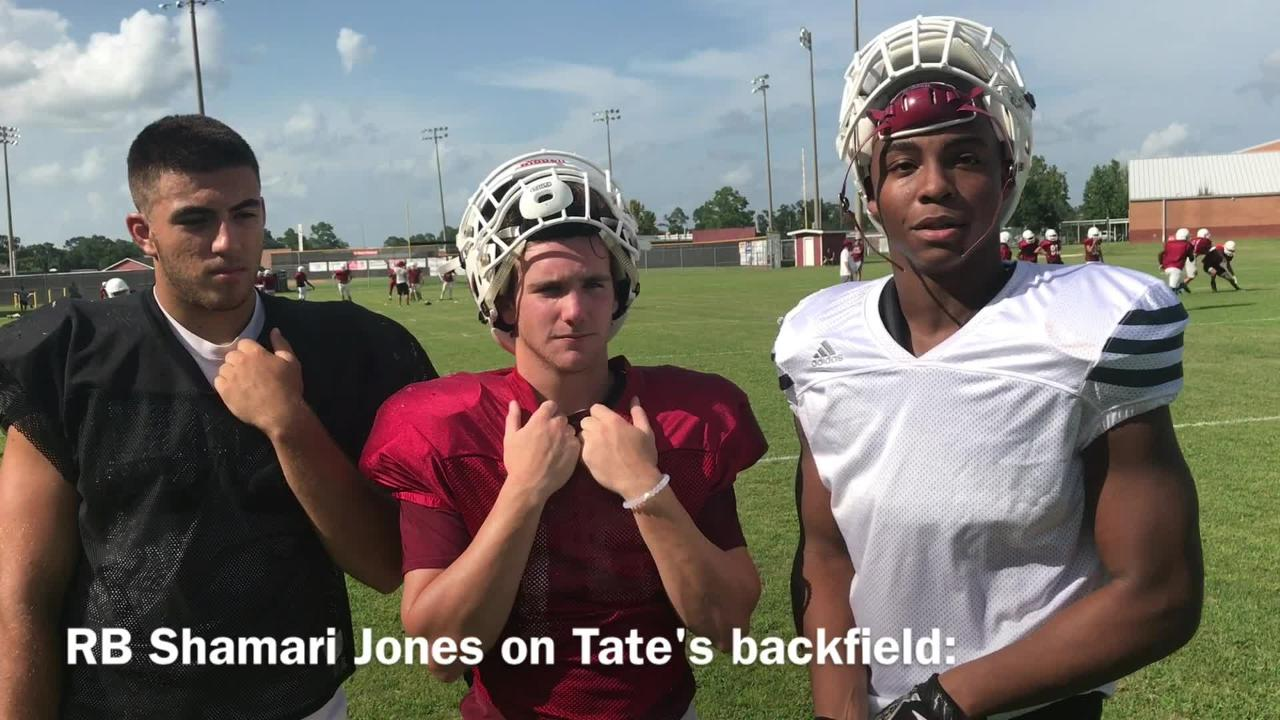 Tate Aggies Juanito Gonzalez, Reid Halfacre and Shamari Jones discuss upcoming season.