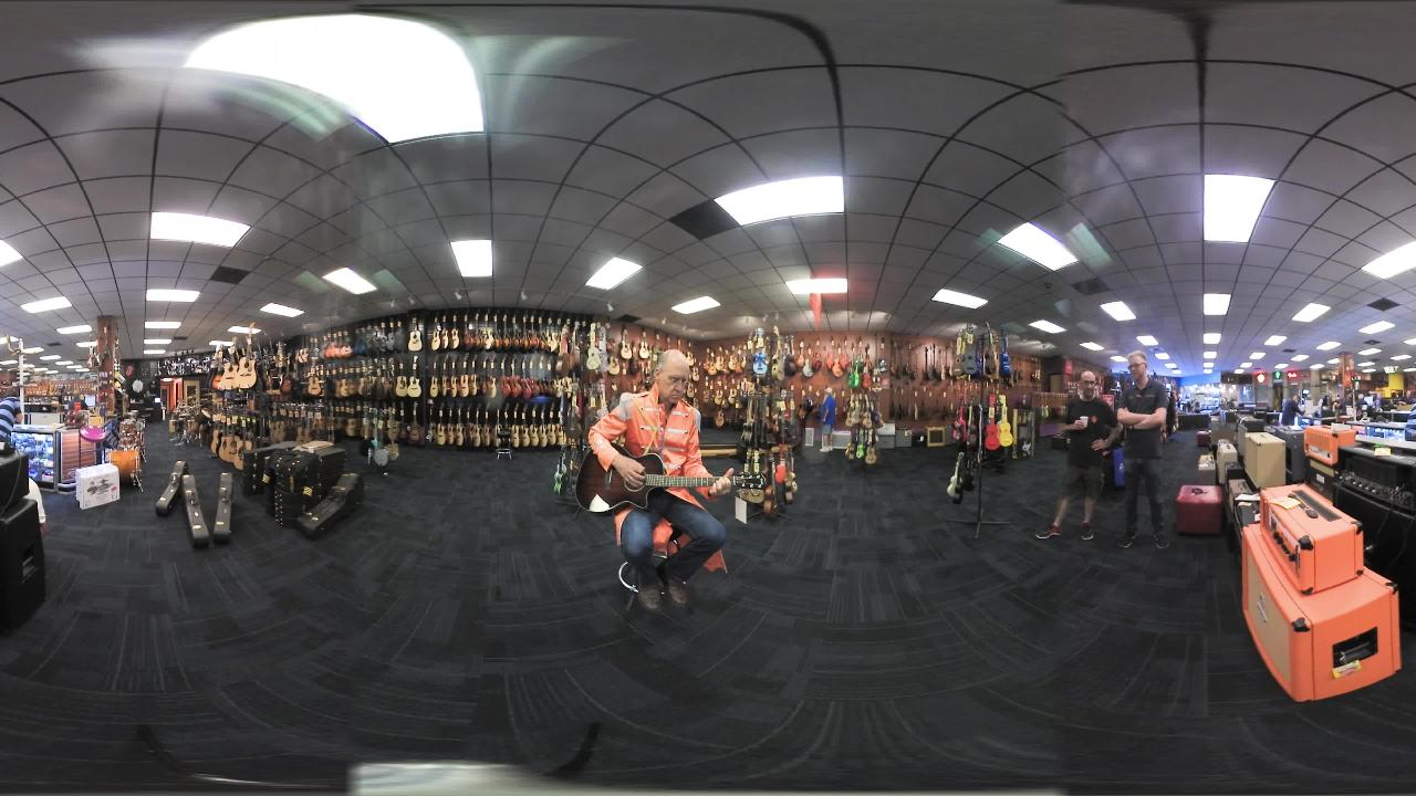 Take a 360 tour of Blues Angels Music while owner strums the guitar