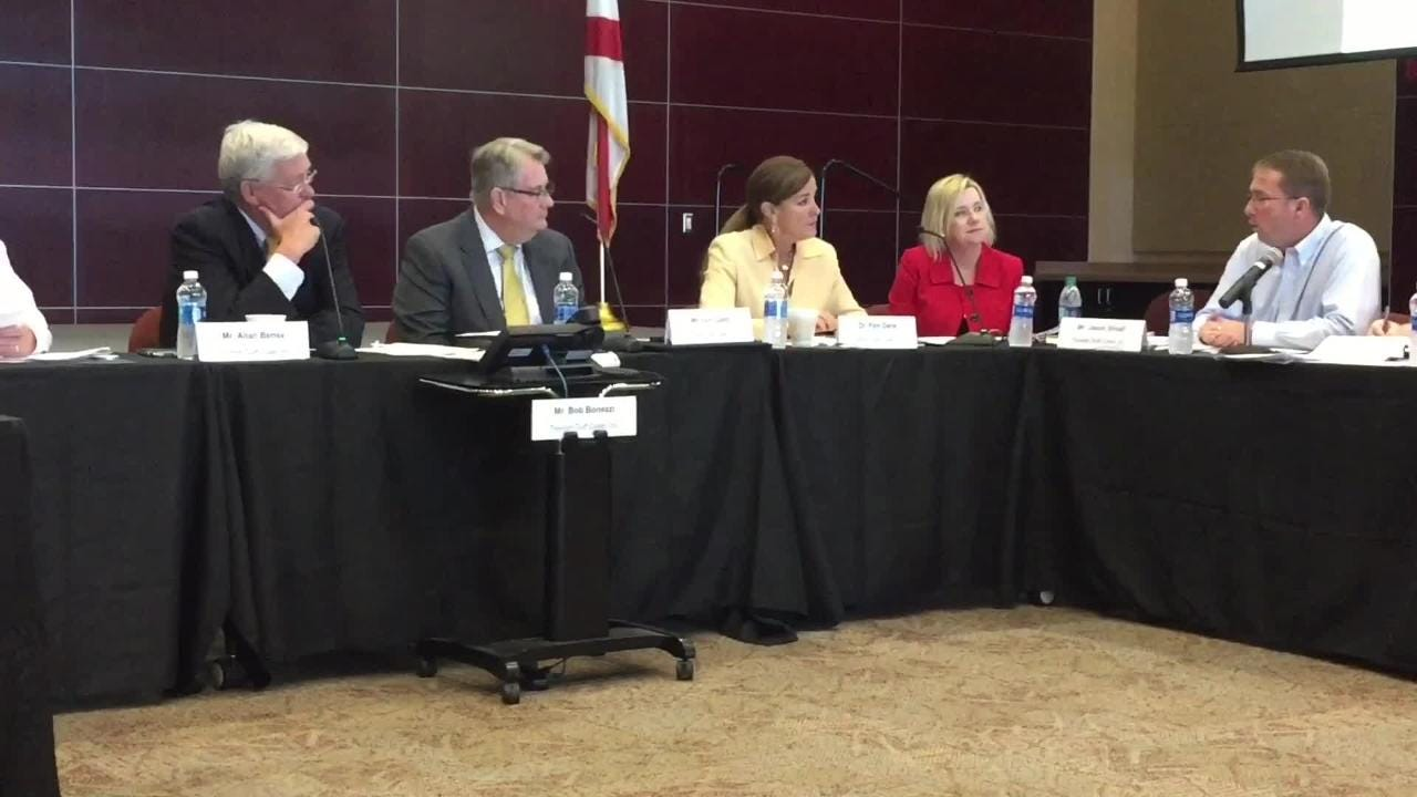 The Triumph board convened on Wednesday to discuss what each board member would prioritize for funding. (Joseph Baucum/jbaucum@pnj.com)