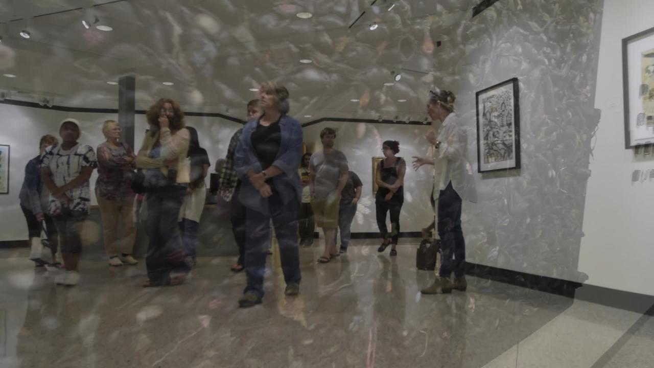 Distinguished artist Jacqueline Bishop describes her work on exhibit at PSC