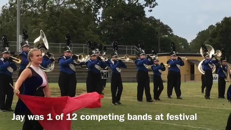 The 46-member Jay Junior-Senior High School Marching Band performs at the Blackwater Classic Marching Band Festival on Saturday, Sept. 30, 2017 at Milton High School.