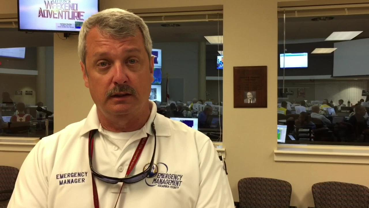 John Dosh, Escambia County emergency manager, gives an update on Hurricane Nate preparations on Saturday, Oct. 7, 2017.