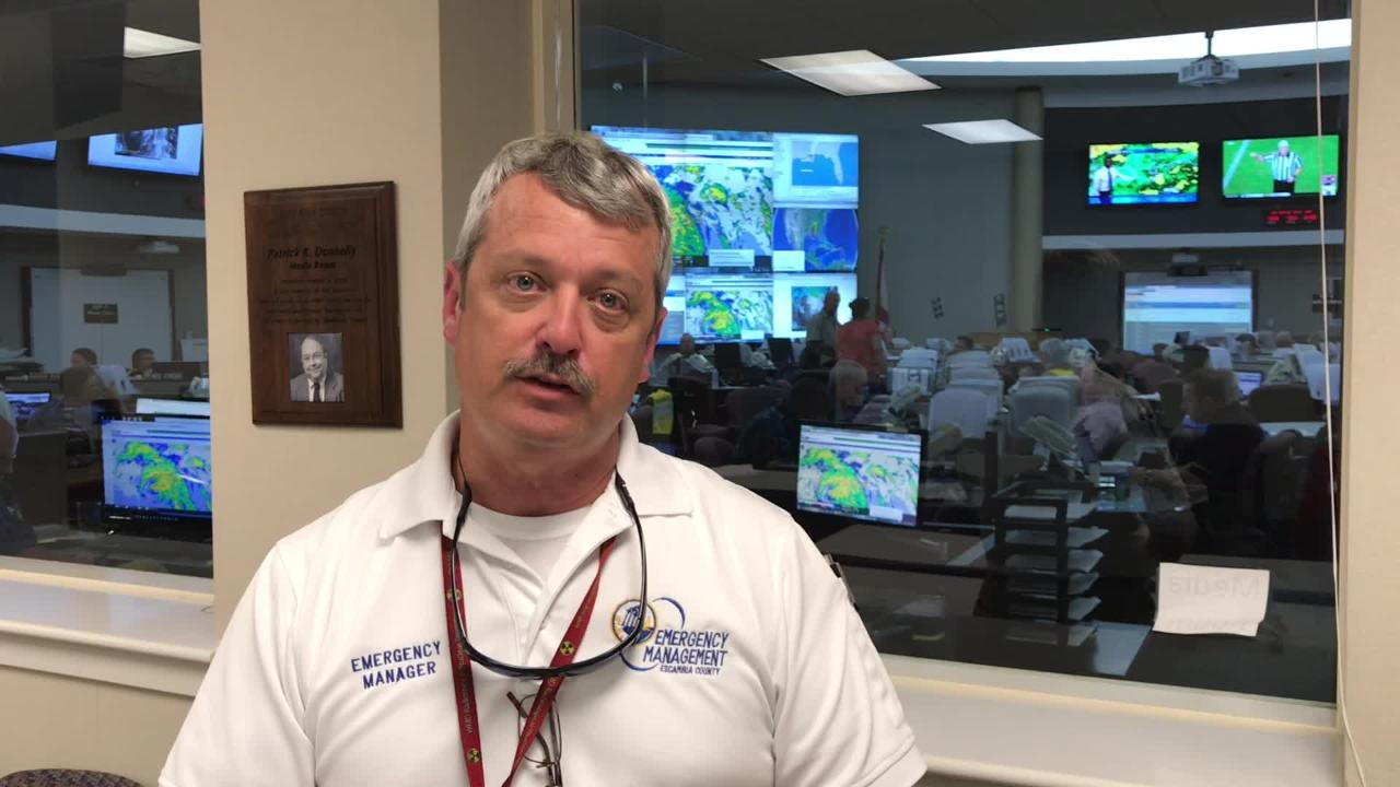 John Dosh, director of Escambia County Emergency Management, provides an update as rain from Hurricane Nate moves into Florida. (Jim Little / jwlittle@pnj.com)