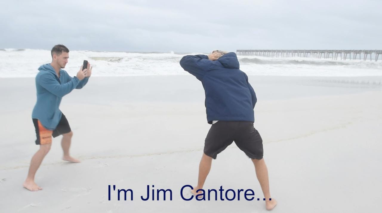 A couple of guys spoof Jim Cantore doing a broadcast during a storm on Pensacola Beach after Hurricane Nate.