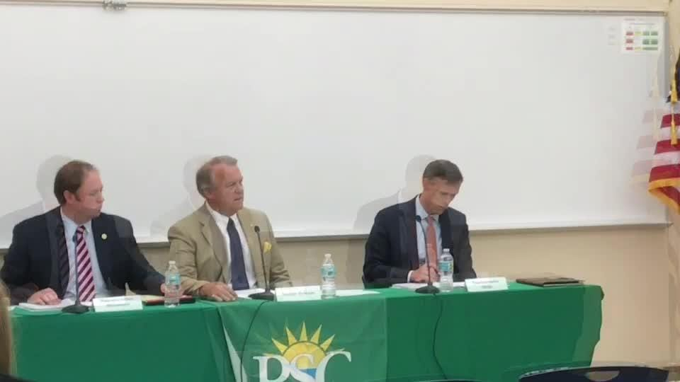 State Sen. Doug Broxson (R-Gulf Breeze) explains legislative priorities to a group of Santa Rosa County officials during a public meeting on Monday, Oct. 16, 2017 at Pensacola State College in Gulf Breeze.